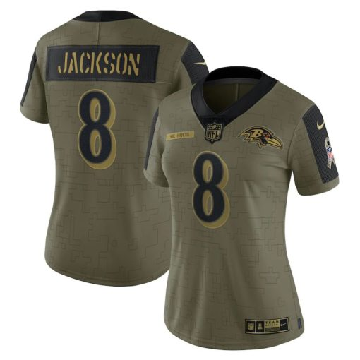 Women's Baltimore Ravens Lamar Jackson Nike Olive 2021 Salute To Service Limited Player Jersey