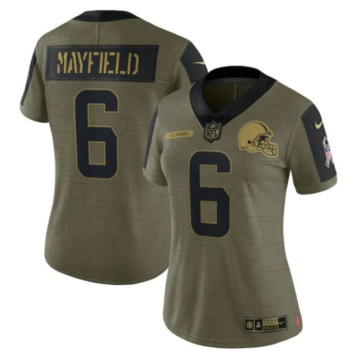 Women's Cleveland Browns Baker Mayfield Nike Olive 2021 Salute To Service Limited Player Jersey