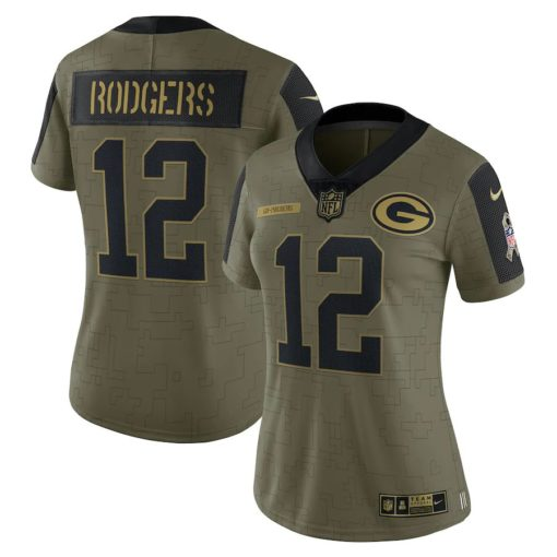 Women's Green Bay Packers Aaron Rodgers Nike Olive 2021 Salute To Service Limited Player Jersey