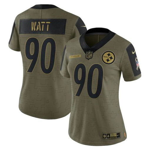Women's Pittsburgh Steelers T.J. Watt Nike Olive 2021 Salute To Service Limited Player Jersey