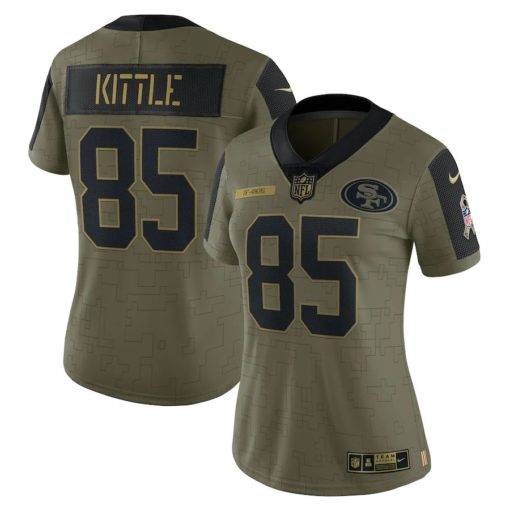 Women's San Francisco 49ers George Kittle Nike Olive 2021 Salute To Service Limited Player Jersey
