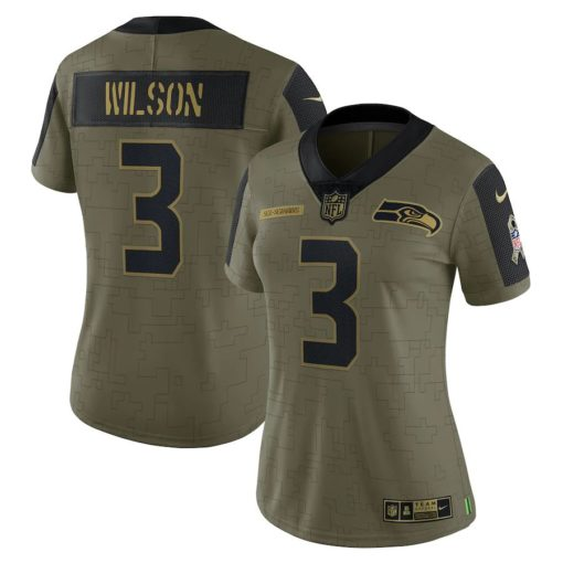 Women's Seattle Seahawks Russell Wilson Nike Olive 2021 Salute To Service Limited Player Jersey
