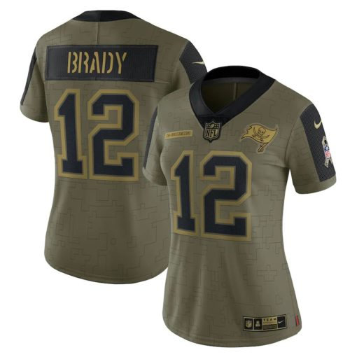 Women's Tampa Bay Buccaneers Tom Brady Nike Olive 2021 Salute To Service Limited Player Jersey