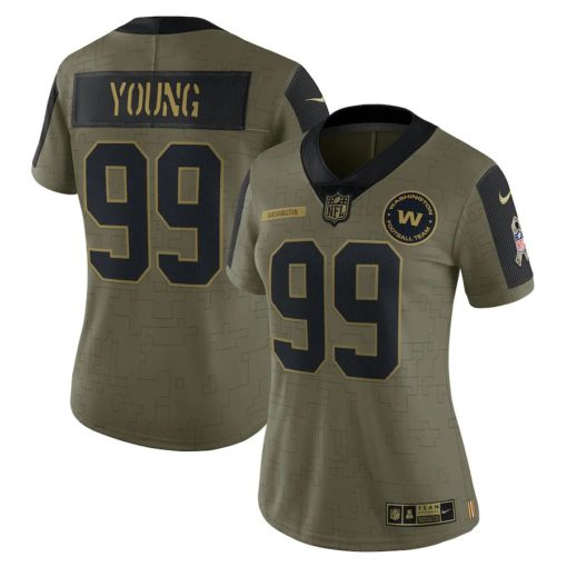 Women's Washington Football Team Chase Young Nike Olive 2021 Salute To Service Limited Player Jersey